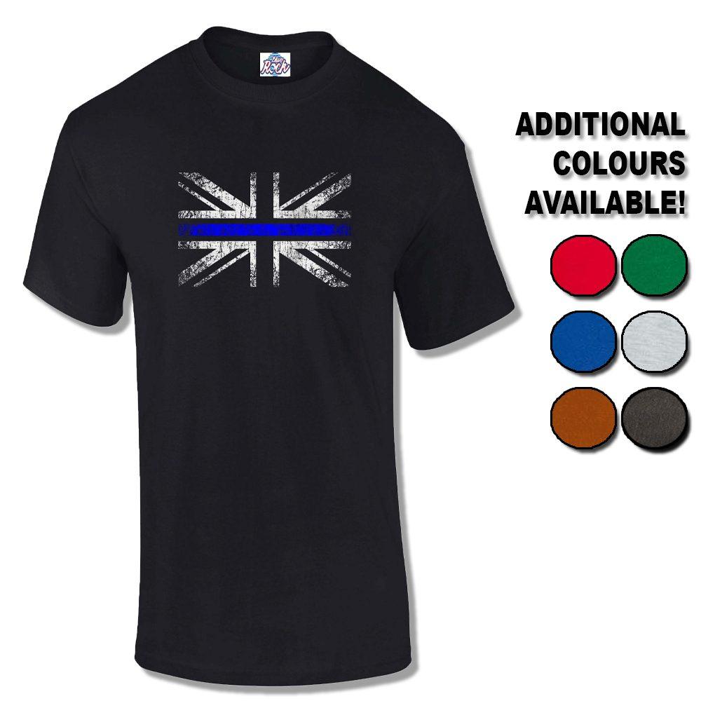 Mens Distressed Thin Blue Line Flag T-Shirt  8d4aec96428