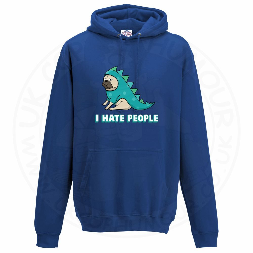 Unisex HATE PEOPLE Hoodie - Royal Blue, 3XL