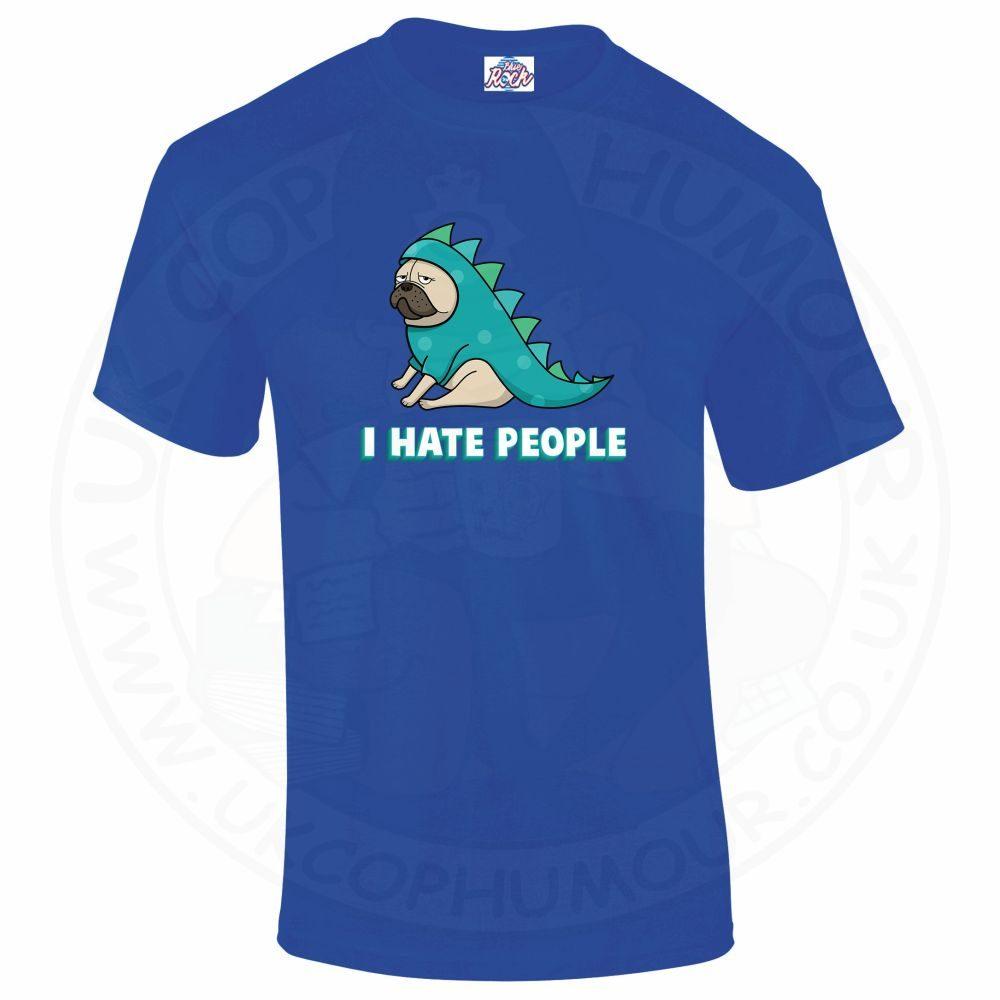 Mens HATE PEOPLE T-Shirt - Royal Blue, 5XL