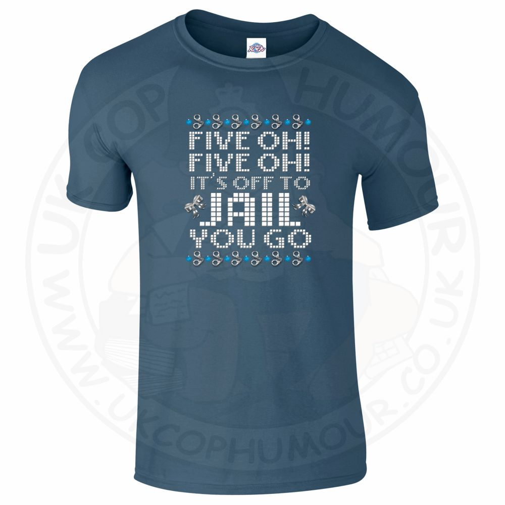 Mens Five OH Five OH T-Shirt - Indigo Blue, 2XL