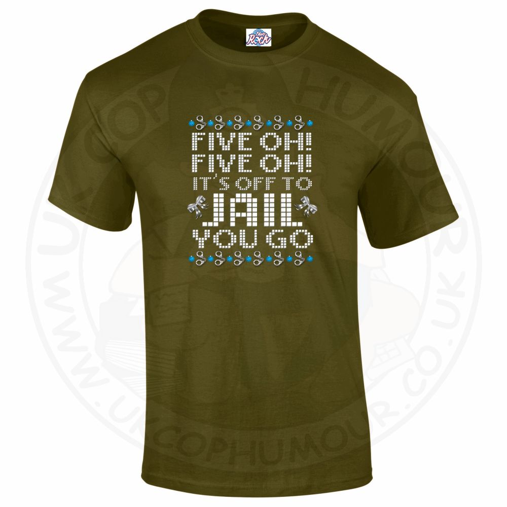 Mens Five OH Five OH T-Shirt - Olive Green, 2XL