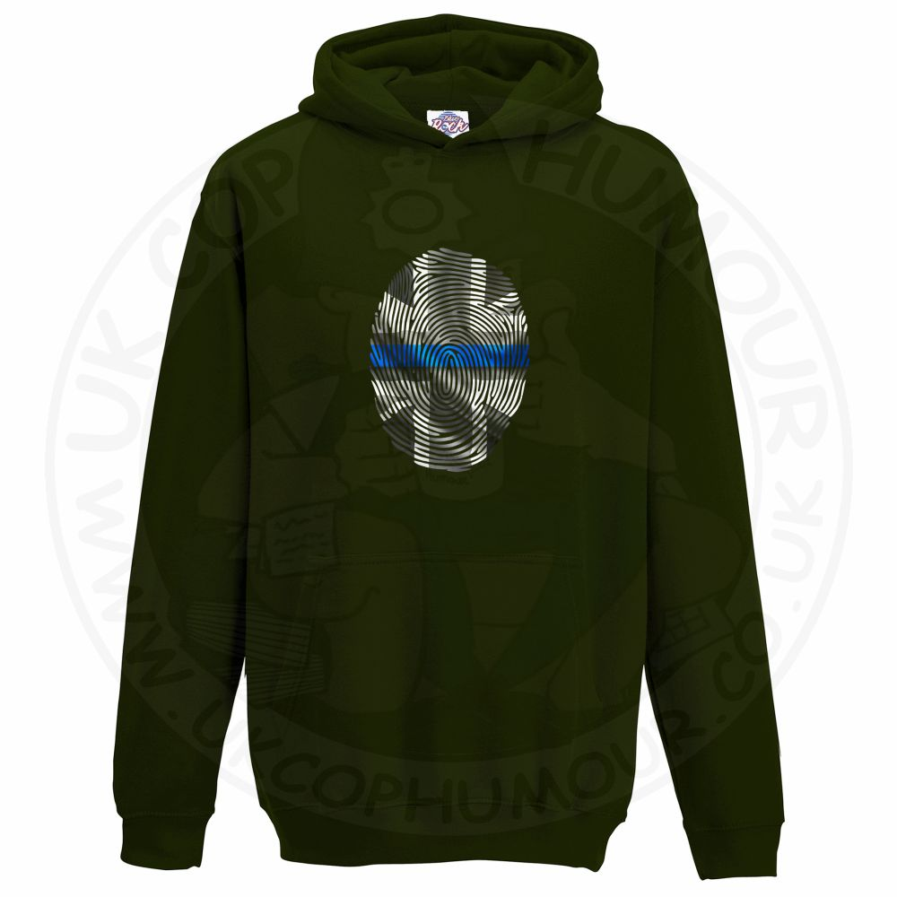 Kids THIN BLUE FINGERPRINT Hoodie - Bottle Green, 12-13 Years