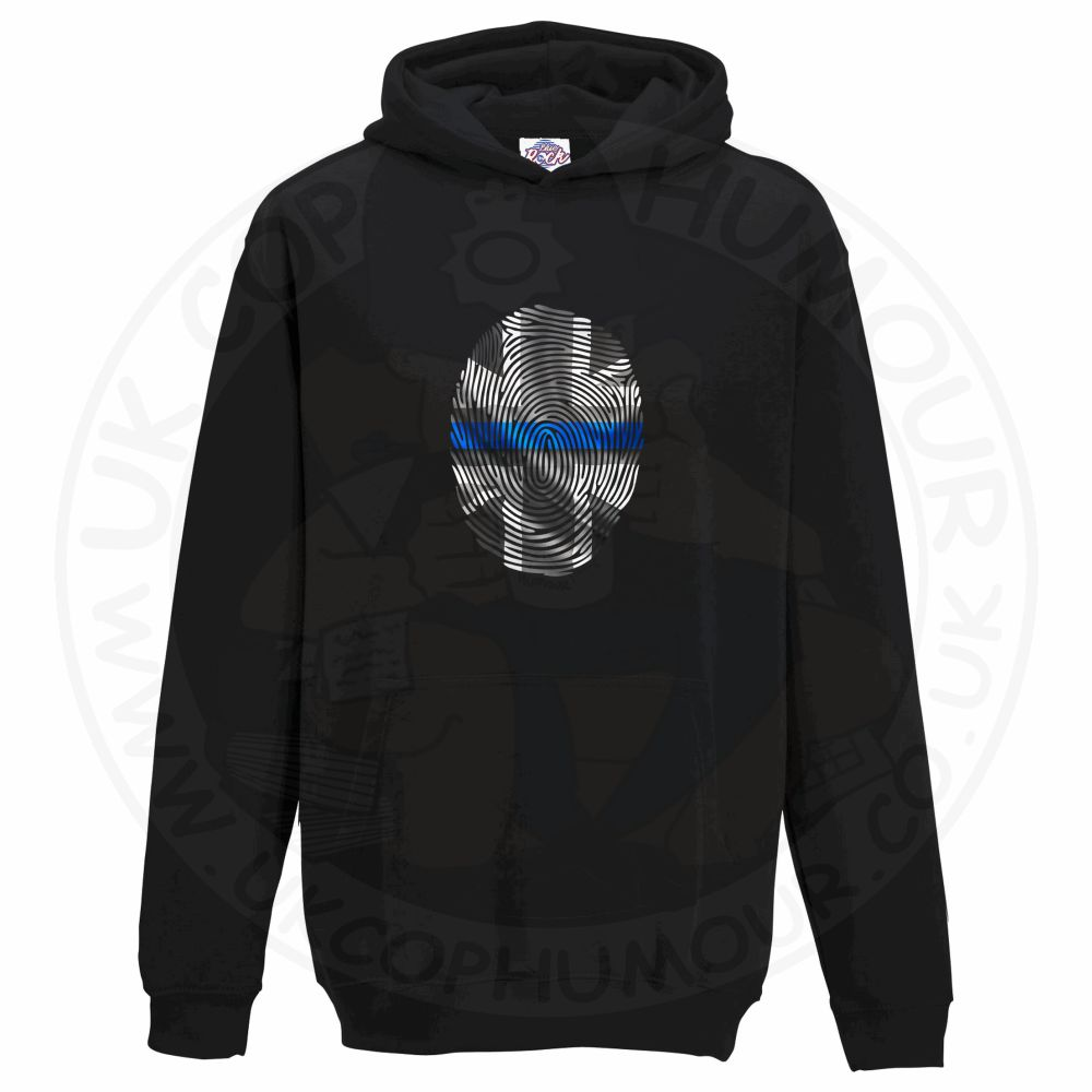 Kids THIN BLUE FINGERPRINT Hoodie - Black, 12-13 Years
