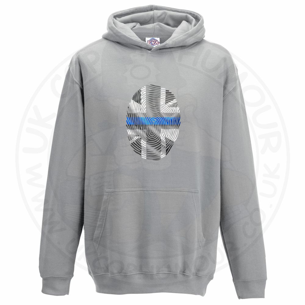 Kids THIN BLUE FINGERPRINT Hoodie - Grey, 12-13 Years