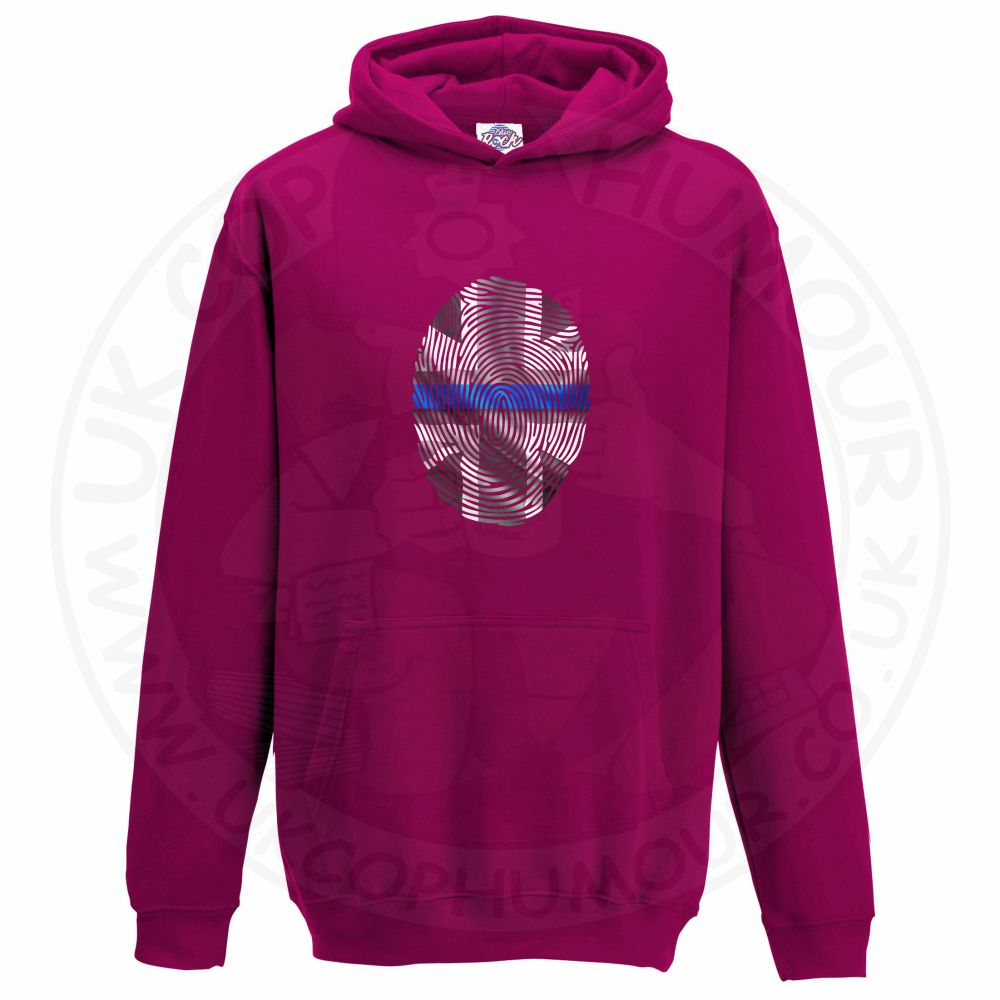Kids THIN BLUE FINGERPRINT Hoodie - Hot Pink, 12-13 Years