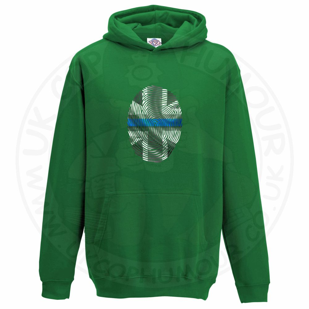 Kids THIN BLUE FINGERPRINT Hoodie - Kelly Green, 12-13 Years