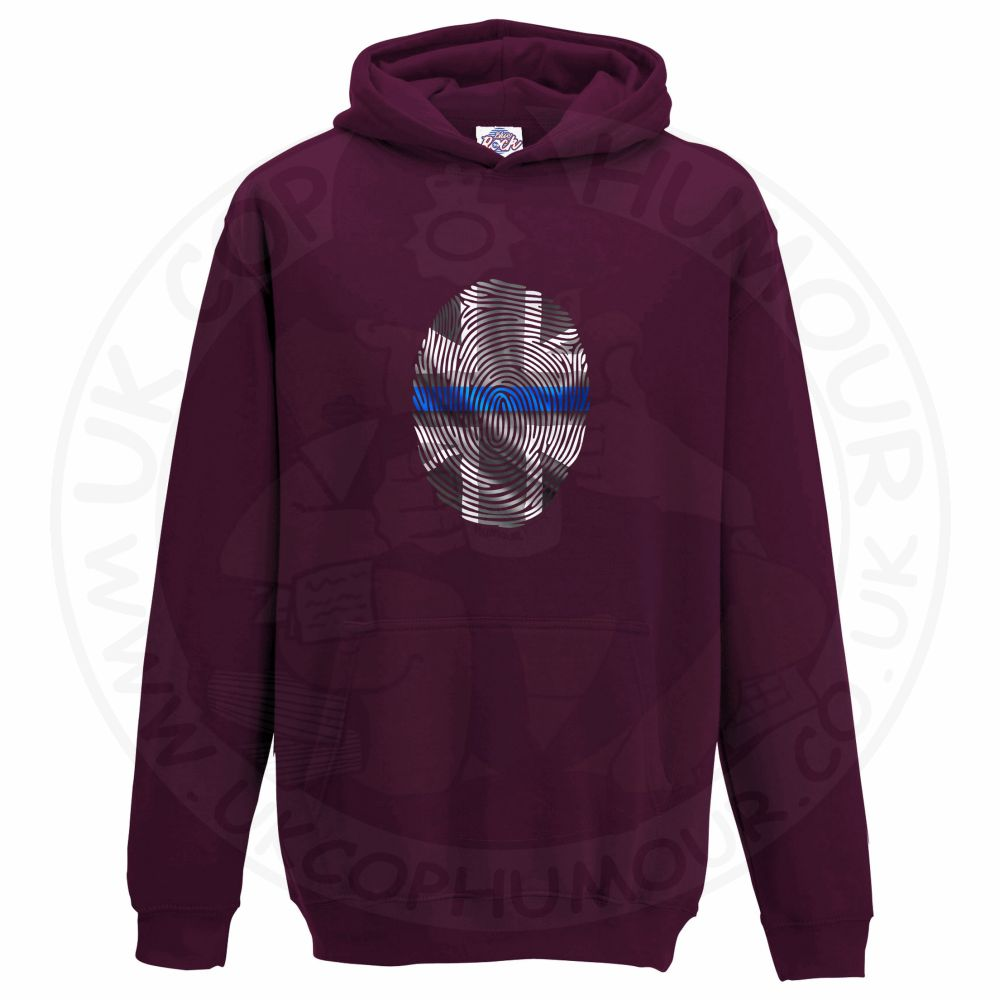 Kids THIN BLUE FINGERPRINT Hoodie - Maroon, 12-13 Years