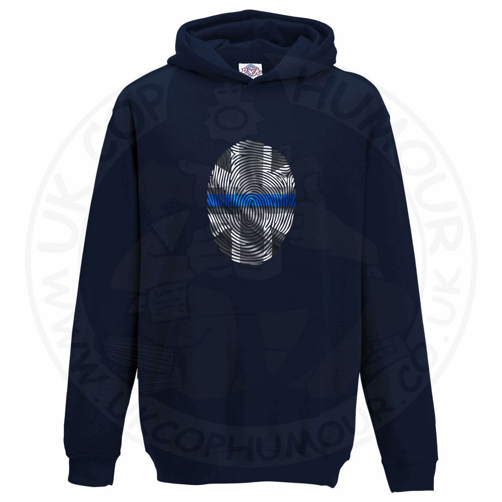 Kids THIN BLUE FINGERPRINT Hoodie - Navy, 12-13 Years