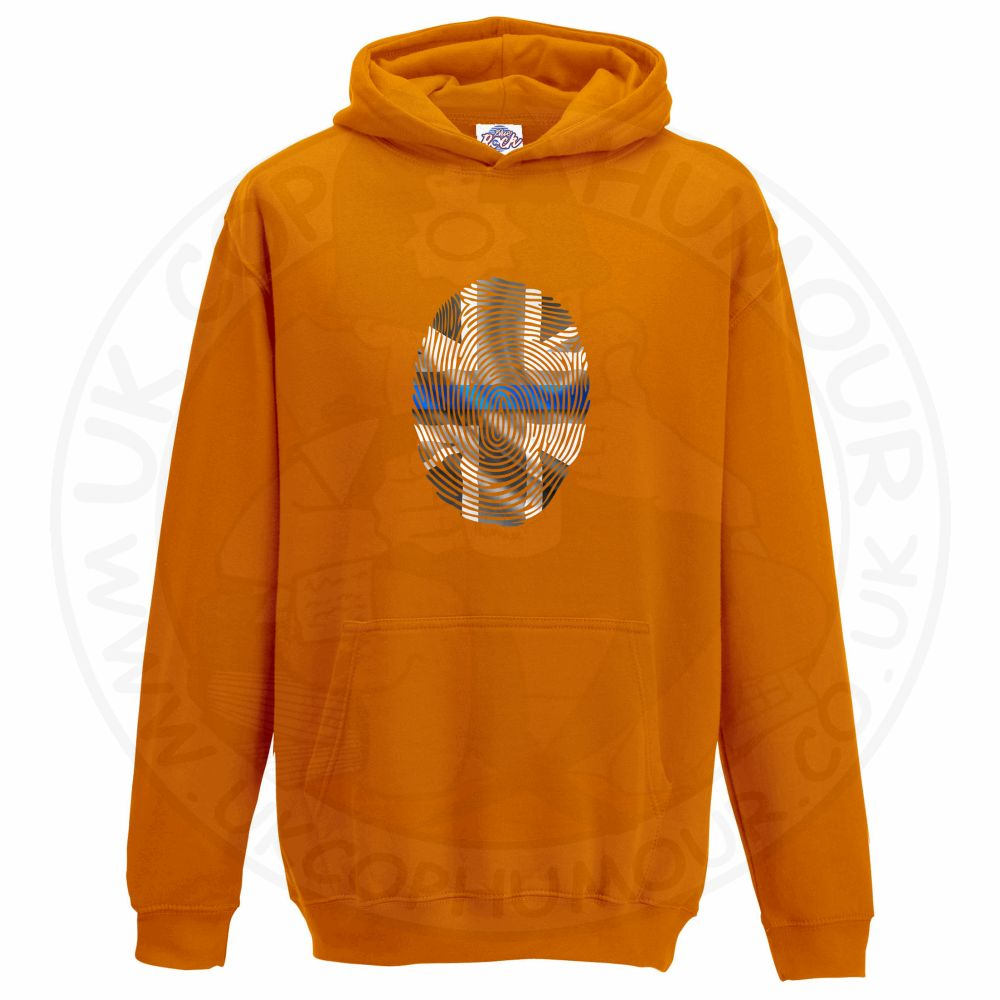 Kids THIN BLUE FINGERPRINT Hoodie - Orange, 12-13 Years