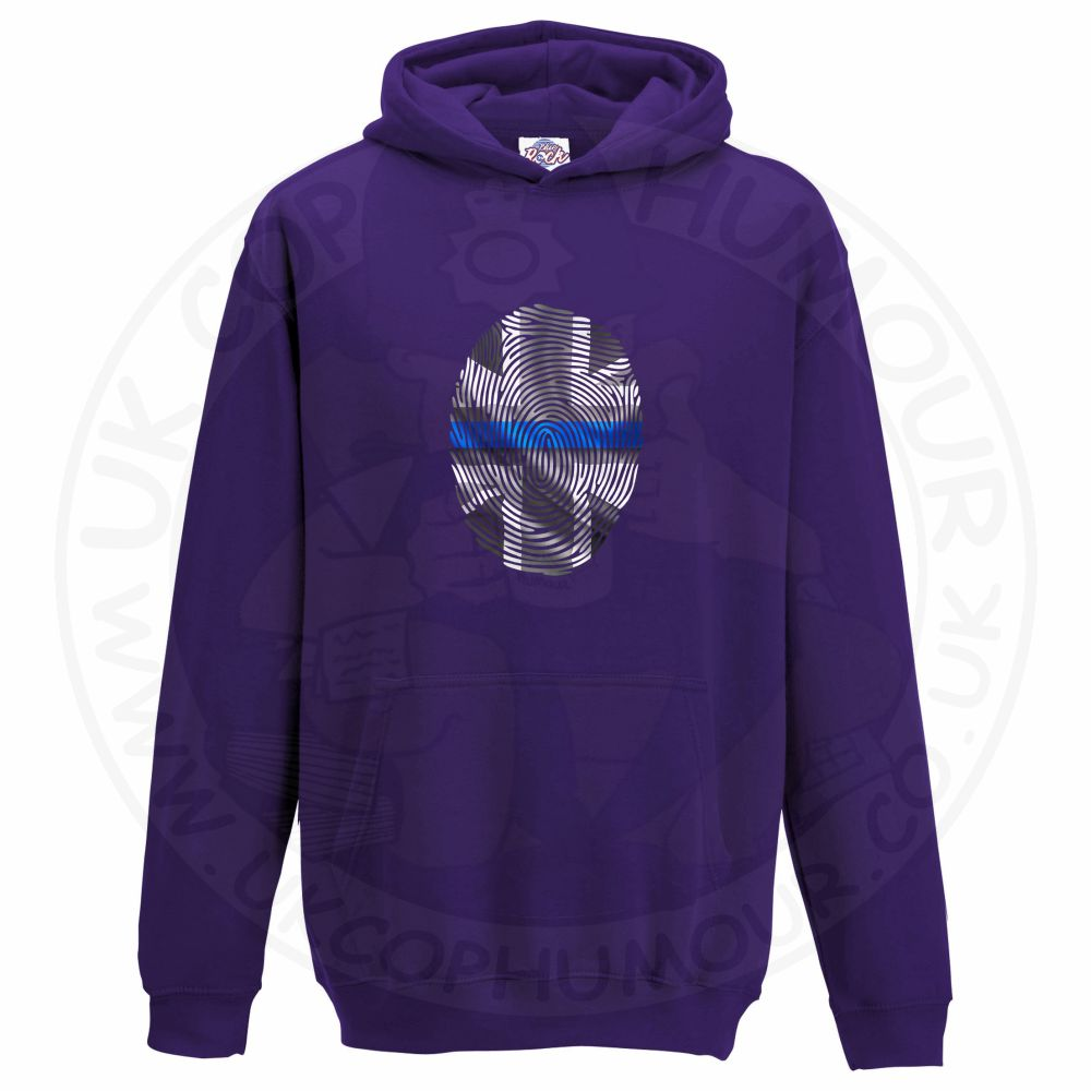 Kids THIN BLUE FINGERPRINT Hoodie - Purple, 12-13 Years