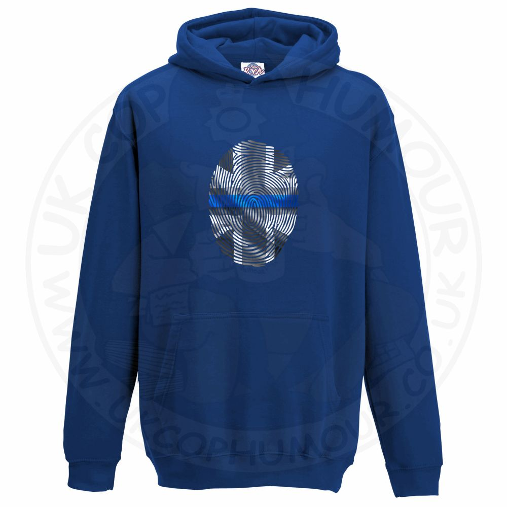 Kids THIN BLUE FINGERPRINT Hoodie - Royal Blue, 12-13 Years