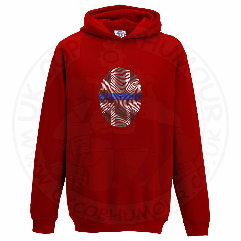 Kids THIN BLUE FINGERPRINT Hoodie - Red, 12-13 Years
