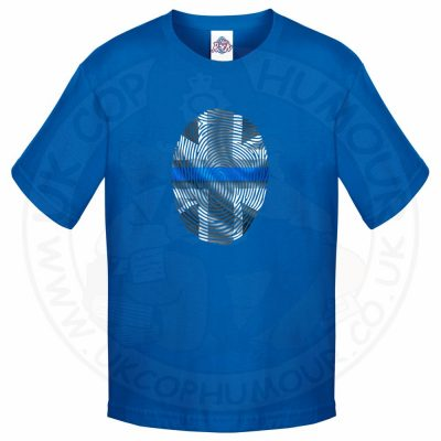Kids THIN BLUE FINGERPRINT T-Shirt - Royal Blue, 12-13 Years