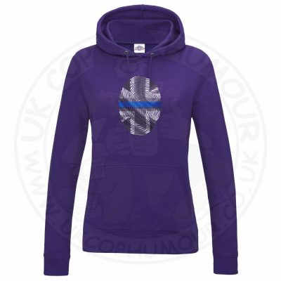 Ladies THIN BLUE FINGERPRINT Hoodie - Purple, 18