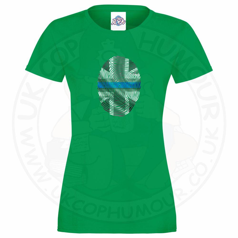 Ladies THIN BLUE FINGERPRINT T-Shirt - Kelly Green, 18