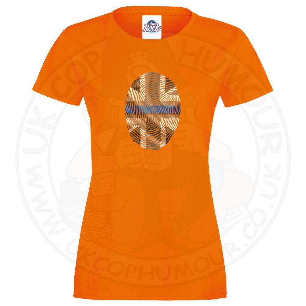 Ladies THIN BLUE FINGERPRINT T-Shirt - Orange, 18