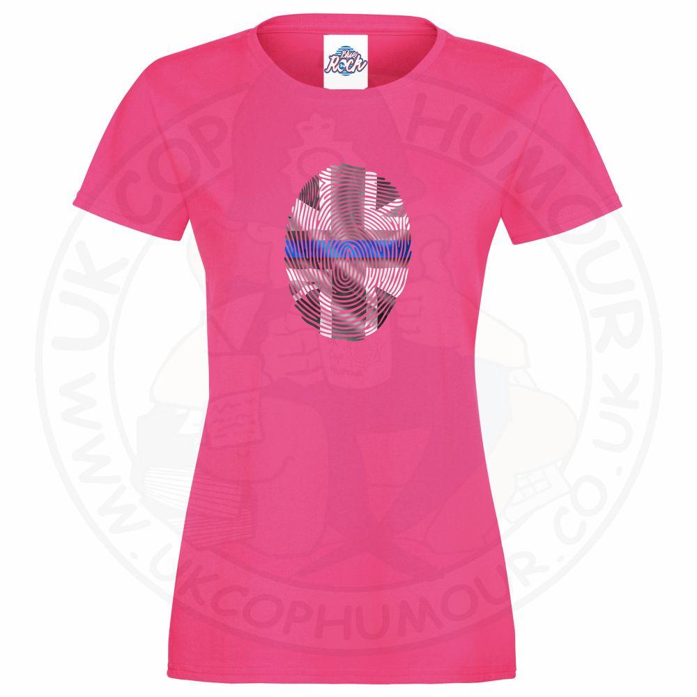 Ladies THIN BLUE FINGERPRINT T-Shirt - Pink, 18