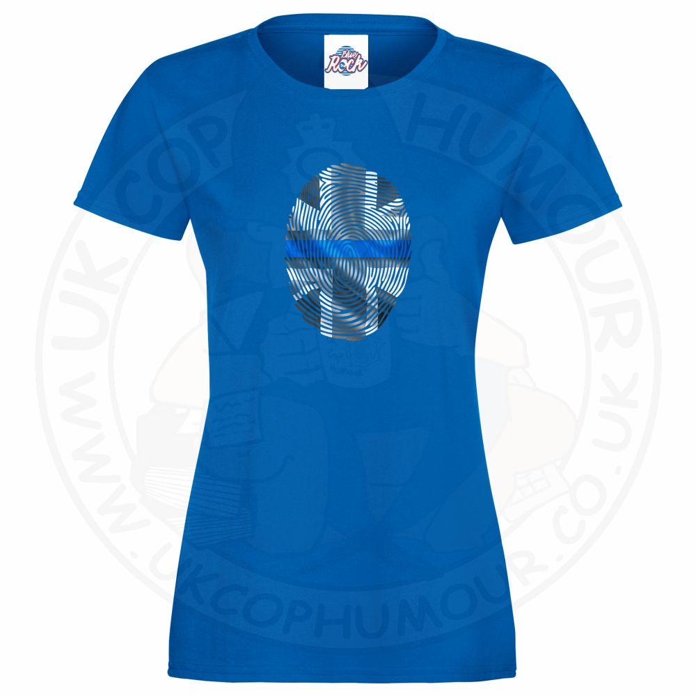 Ladies THIN BLUE FINGERPRINT T-Shirt - Royal Blue, 18