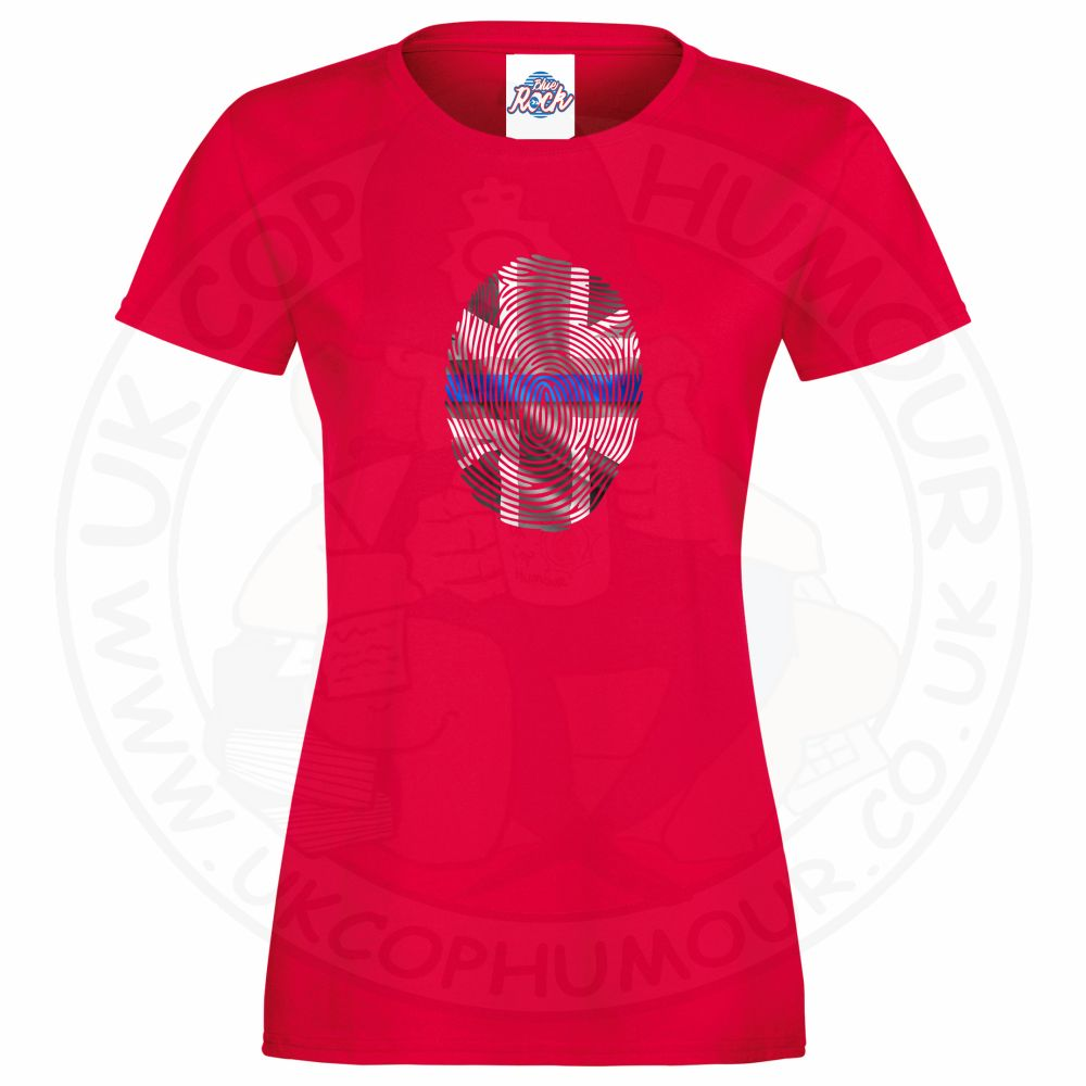 Ladies THIN BLUE FINGERPRINT T-Shirt - Red, 18
