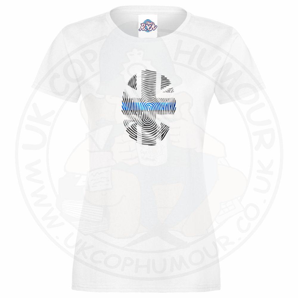 Ladies THIN BLUE FINGERPRINT T-Shirt - White, 18