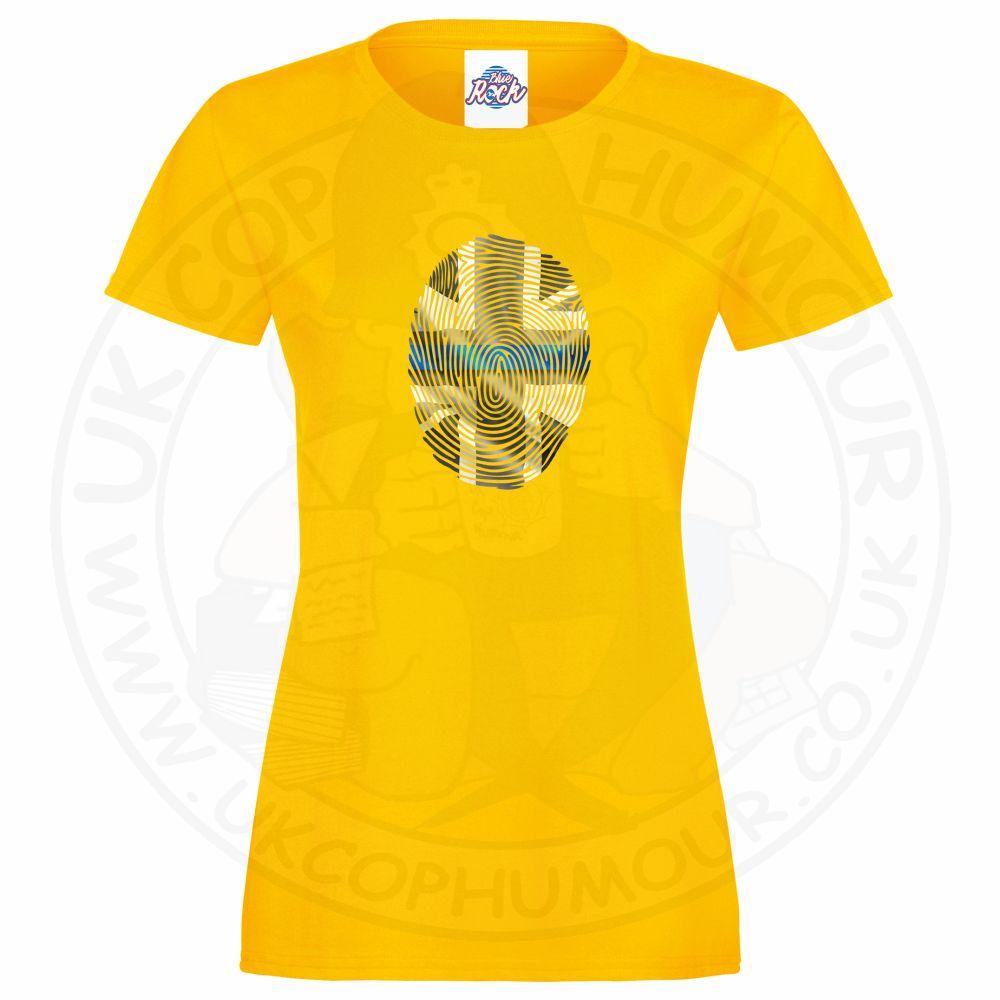 Ladies THIN BLUE FINGERPRINT T-Shirt - Yellow, 18