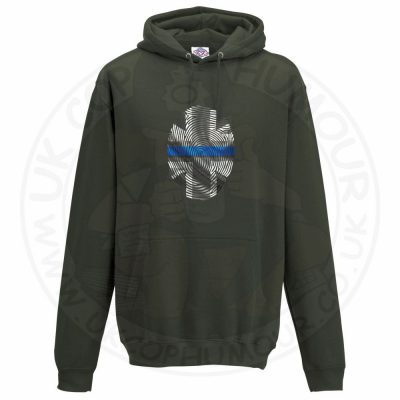 Unisex THIN BLUE FINGERPRINT Hoodie - Olive Green, 2XL