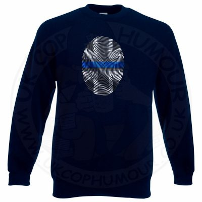 THIN BLUE FINGERPRINT Sweatshirt - Navy, 3XL