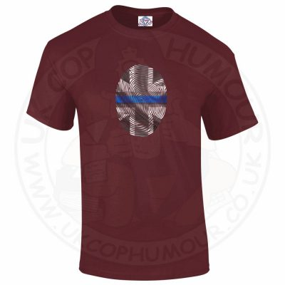Mens THIN BLUE FINGERPRINT T-Shirt - Maroon, 2XL