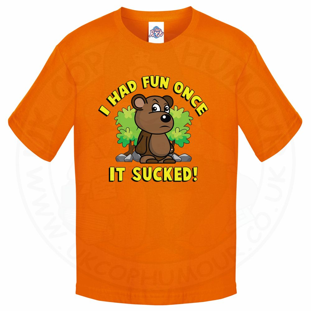 Kids HAD FUN ONCE IT SUCKED T-Shirt - Orange, 12-13 Years