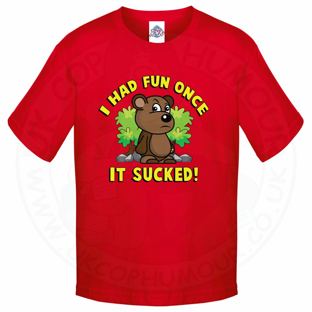 Kids HAD FUN ONCE IT SUCKED T-Shirt - Red, 12-13 Years