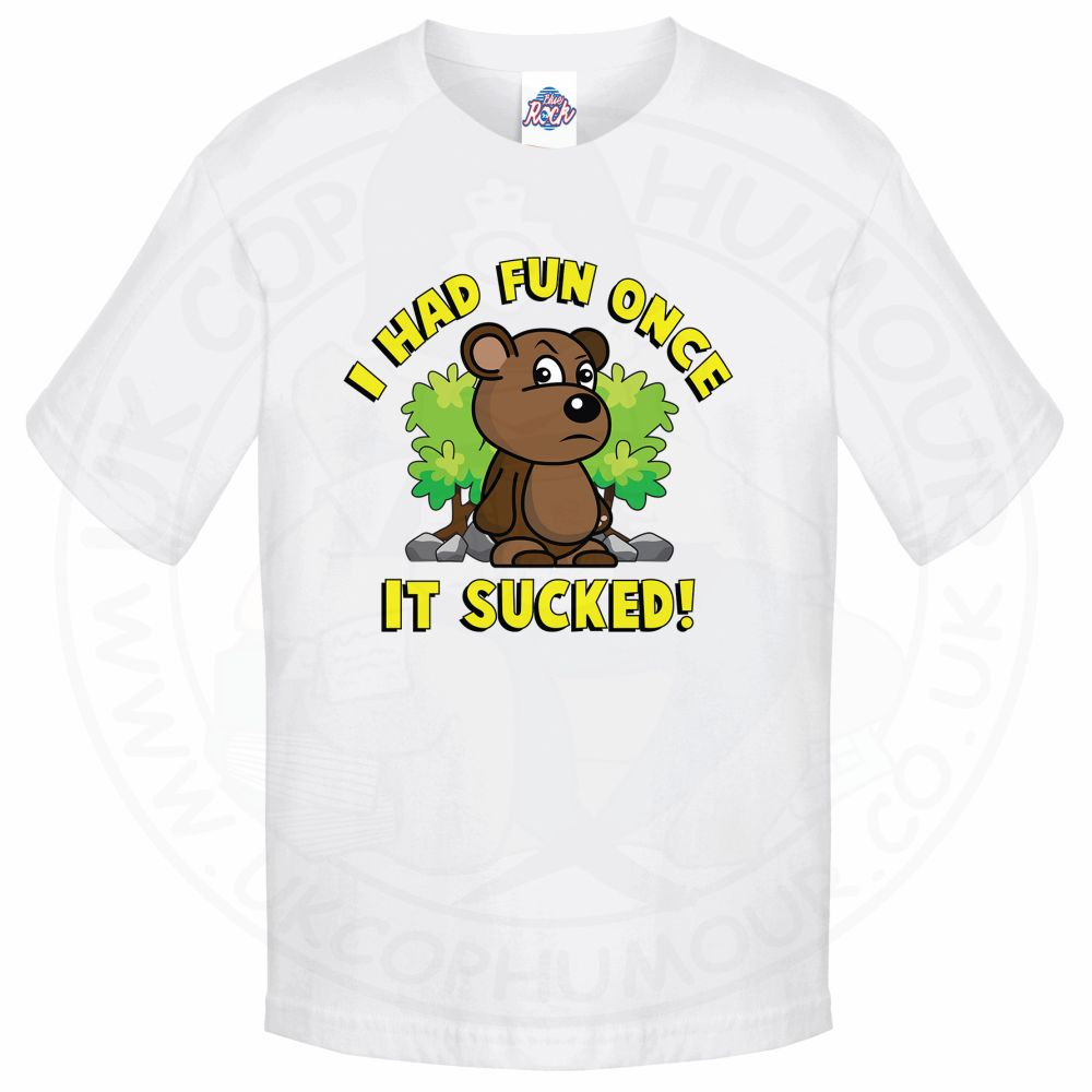 Kids HAD FUN ONCE IT SUCKED T-Shirt - White, 12-13 Years