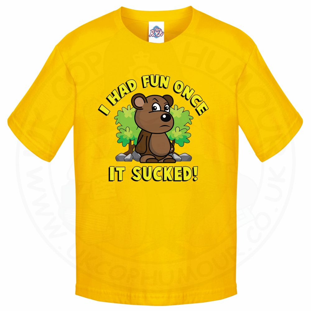 Kids HAD FUN ONCE IT SUCKED T-Shirt - Yellow, 12-13 Years
