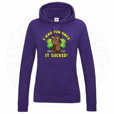 Ladies HAD FUN ONCE IT SUCKED Hoodie - Purple, 18