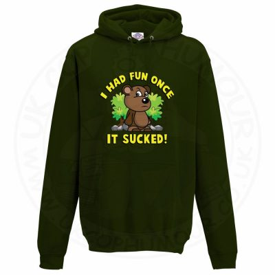 Unisex HAD FUN ONCE IT SUCKED Hoodie - Forest Green, 2XL