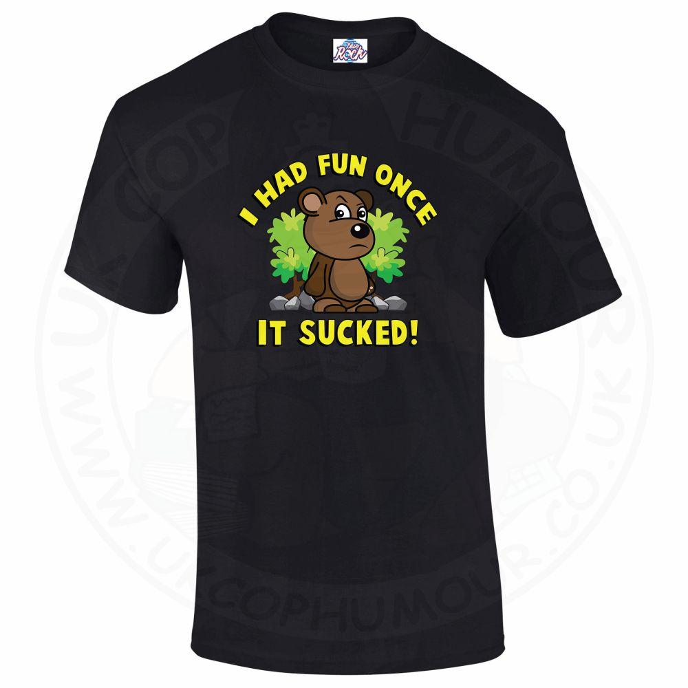Mens HAD FUN ONCE IT SUCKED T-Shirt - Black, 5XL