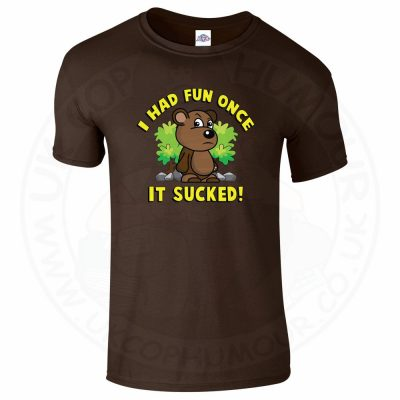 Mens HAD FUN ONCE IT SUCKED T-Shirt - Dark Chocolate, 2XL