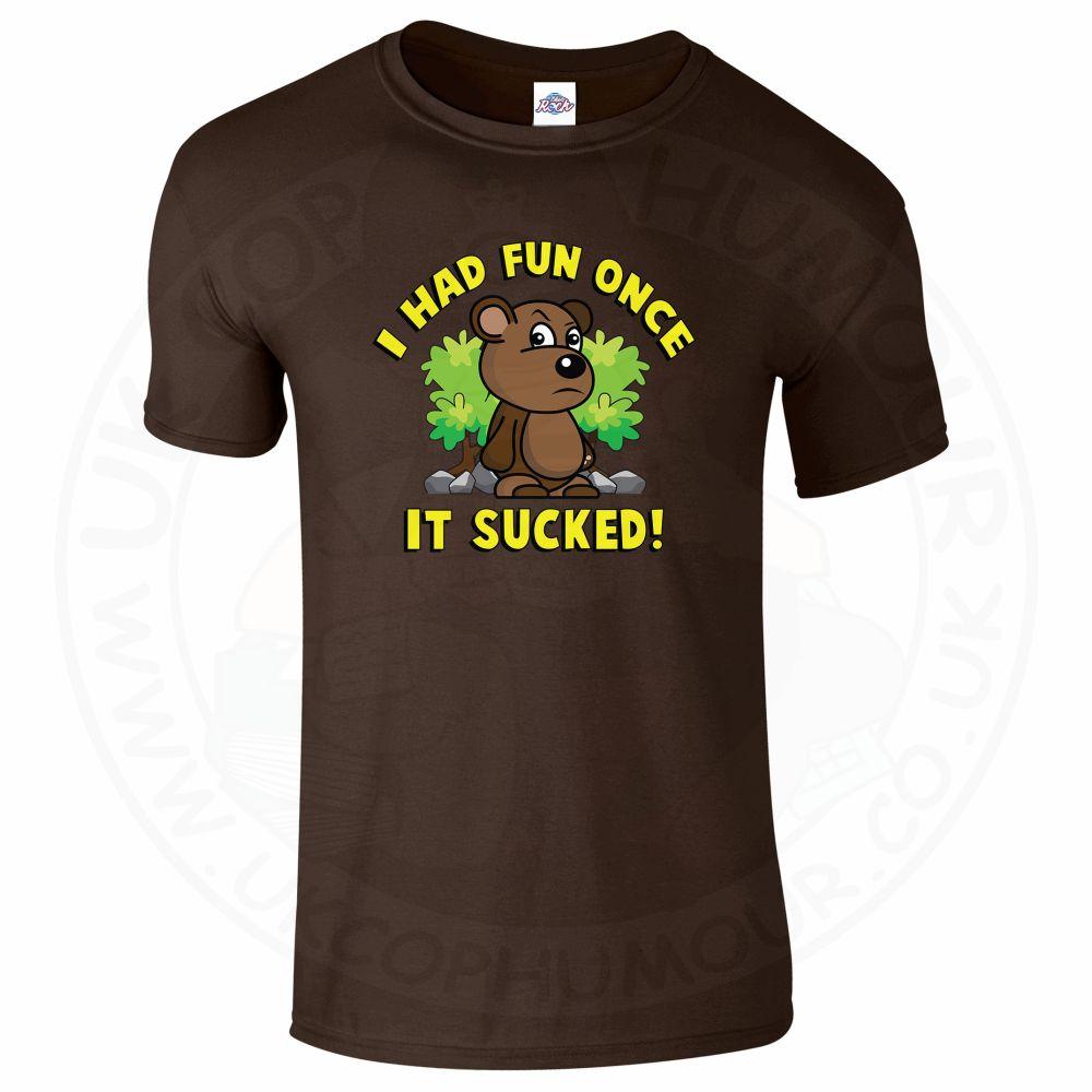 Mens HAD FUN ONCE IT SUCKED T-Shirt - Dark Chocolate, 2XL