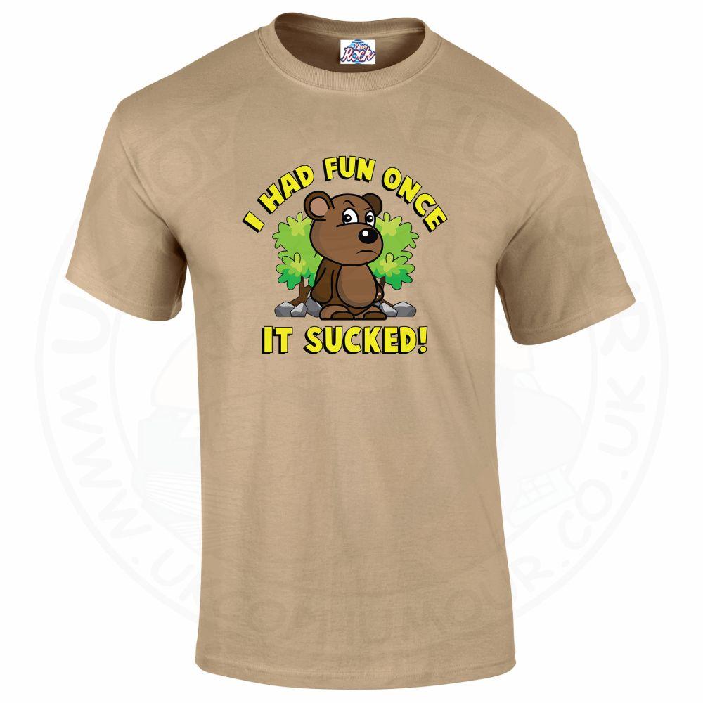 Mens HAD FUN ONCE IT SUCKED T-Shirt - Desert, 2XL
