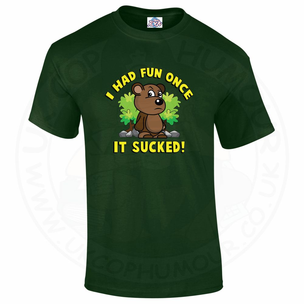 Mens HAD FUN ONCE IT SUCKED T-Shirt - Forest Green, 2XL