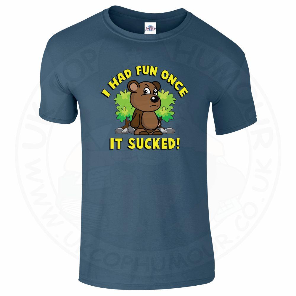 Mens HAD FUN ONCE IT SUCKED T-Shirt - Indigo Blue, 2XL