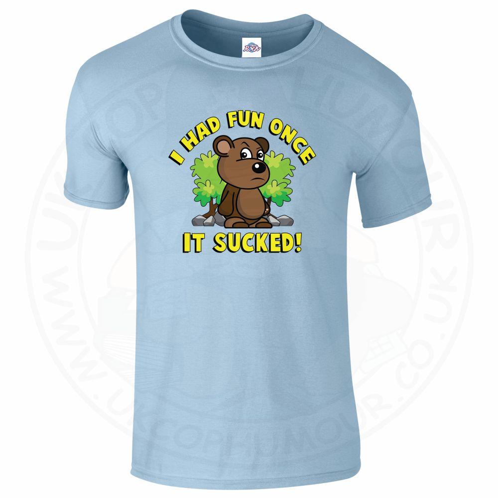 Mens HAD FUN ONCE IT SUCKED T-Shirt - Light Blue, 2XL