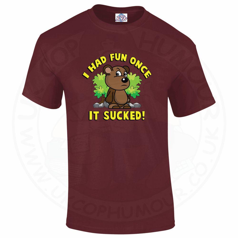 Mens HAD FUN ONCE IT SUCKED T-Shirt - Maroon, 2XL