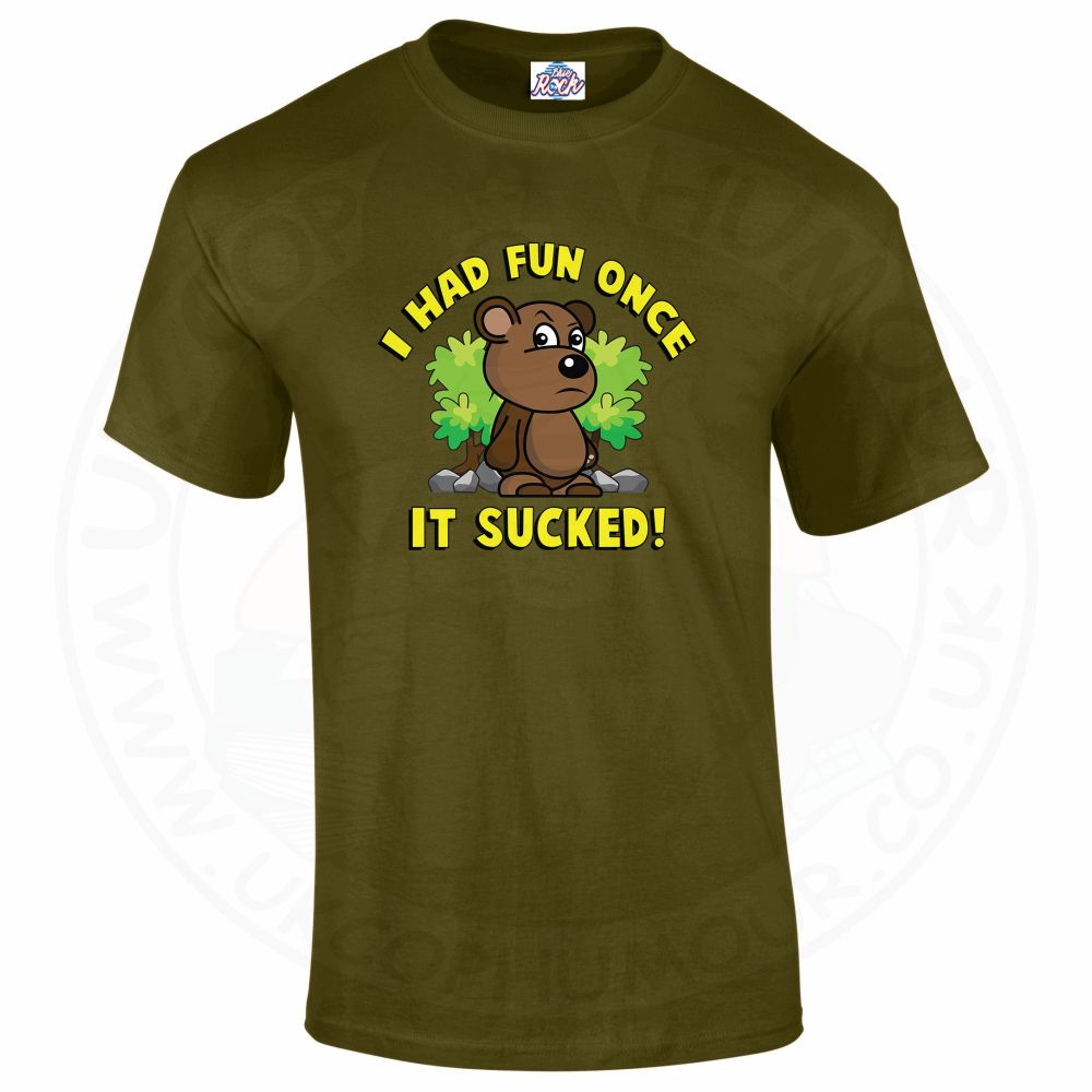 Mens HAD FUN ONCE IT SUCKED T-Shirt - Military Green, 2XL