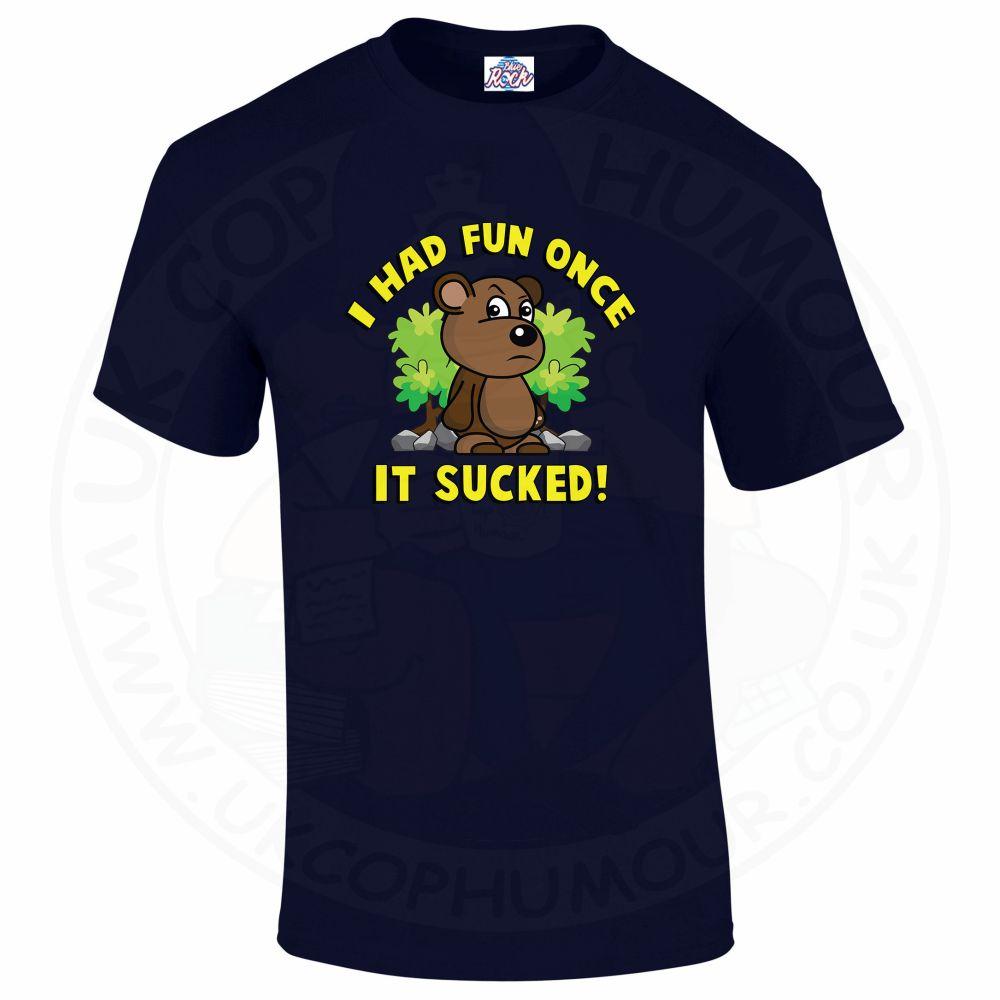 Mens HAD FUN ONCE IT SUCKED T-Shirt - Navy, 5XL