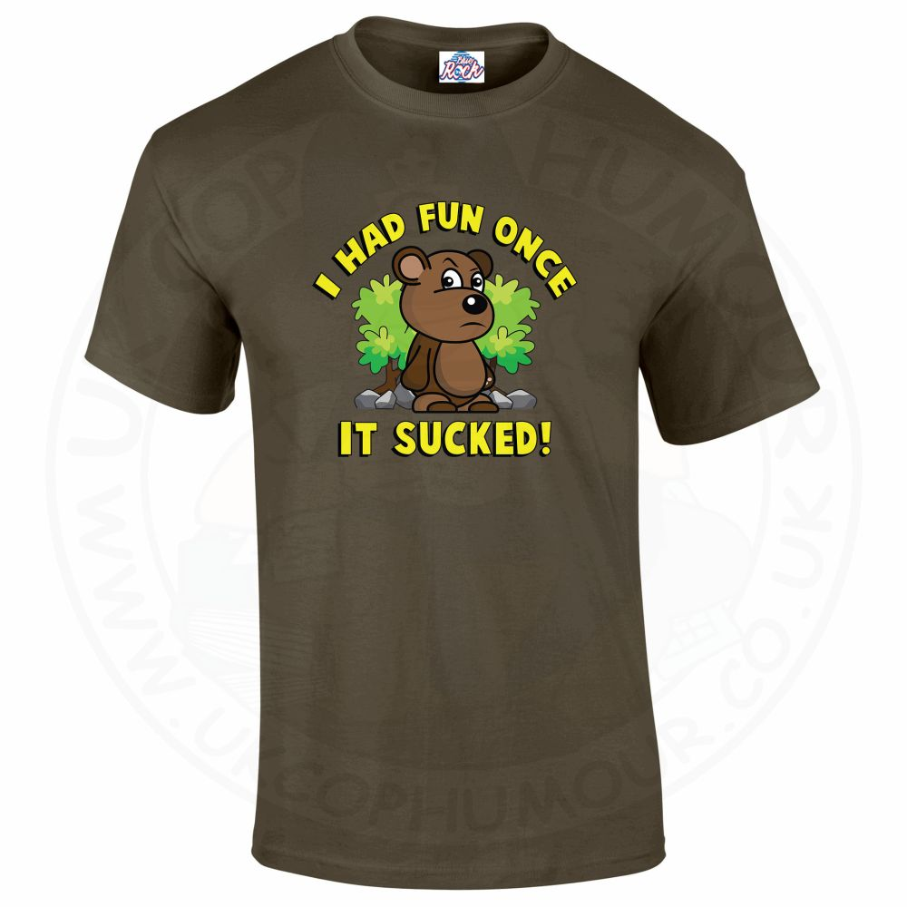Mens HAD FUN ONCE IT SUCKED T-Shirt - Olive Green, 2XL
