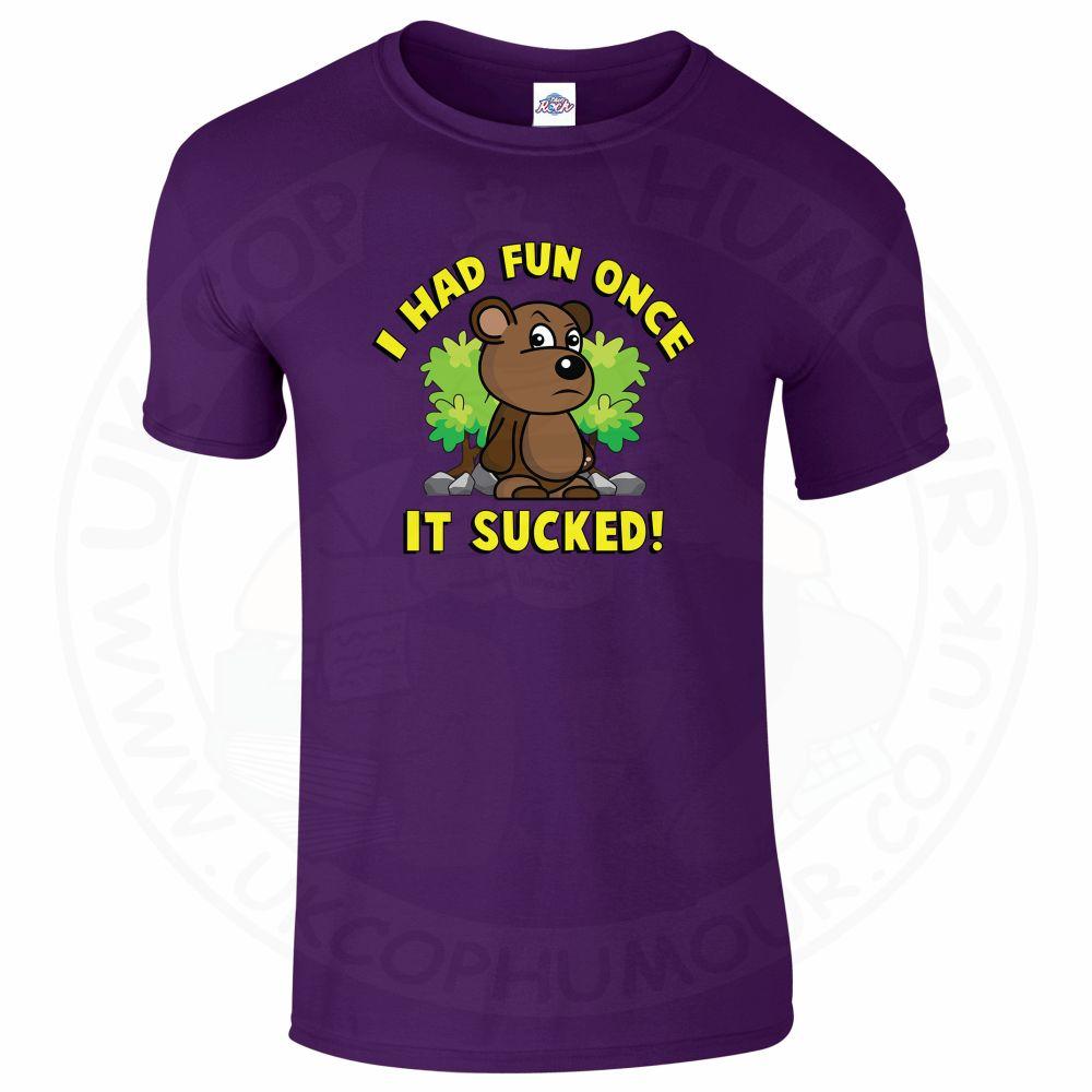 Mens HAD FUN ONCE IT SUCKED T-Shirt - Purple, 2XL