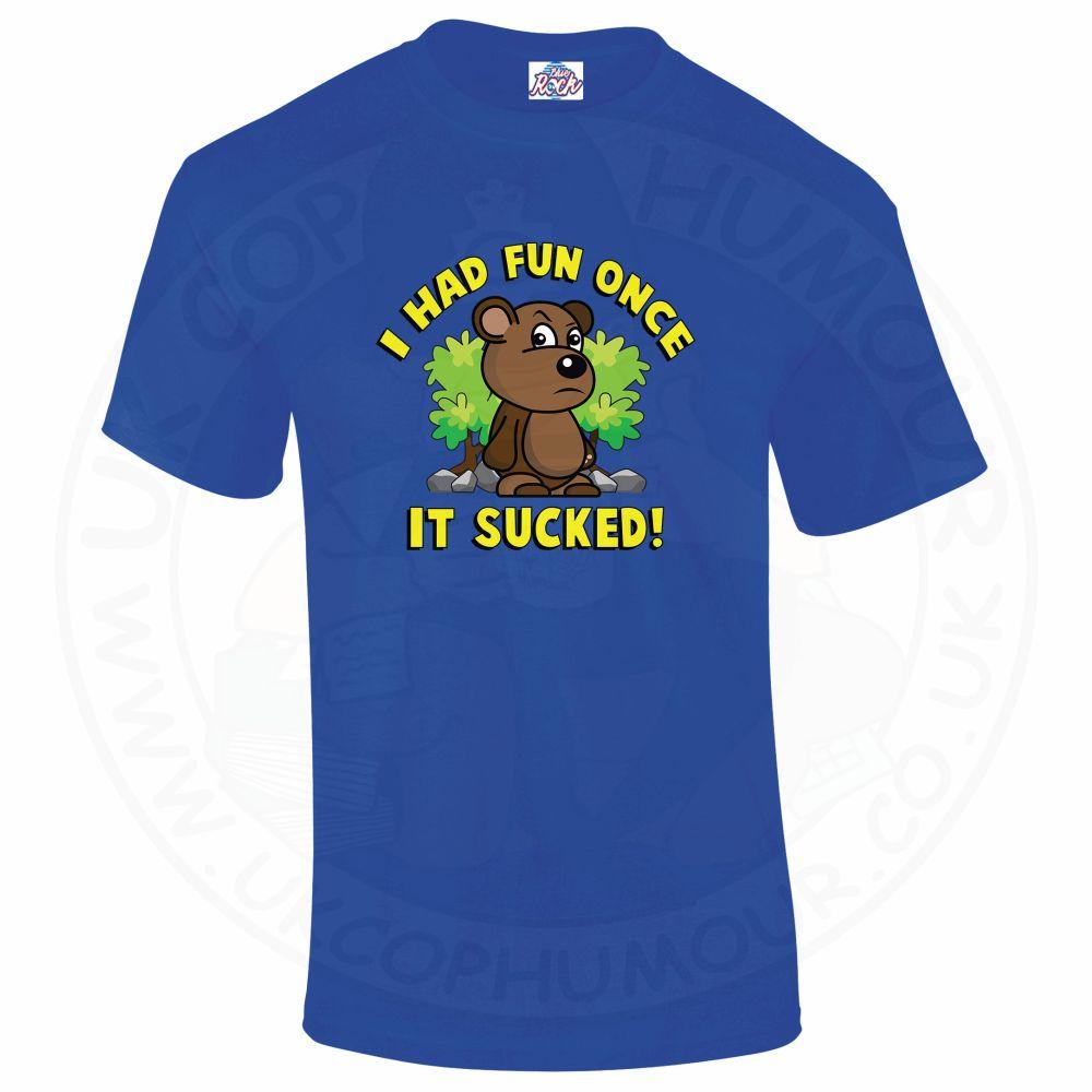 Mens HAD FUN ONCE IT SUCKED T-Shirt - Royal Blue, 5XL