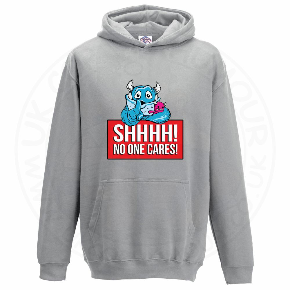 Kids SHHHH NO ONE CARES Hoodie - Grey, 12-13 Years