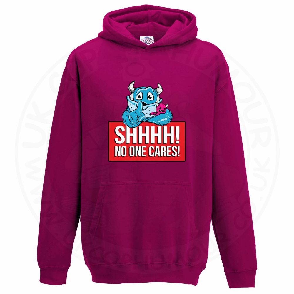 Kids SHHHH NO ONE CARES Hoodie - Hot Pink, 12-13 Years