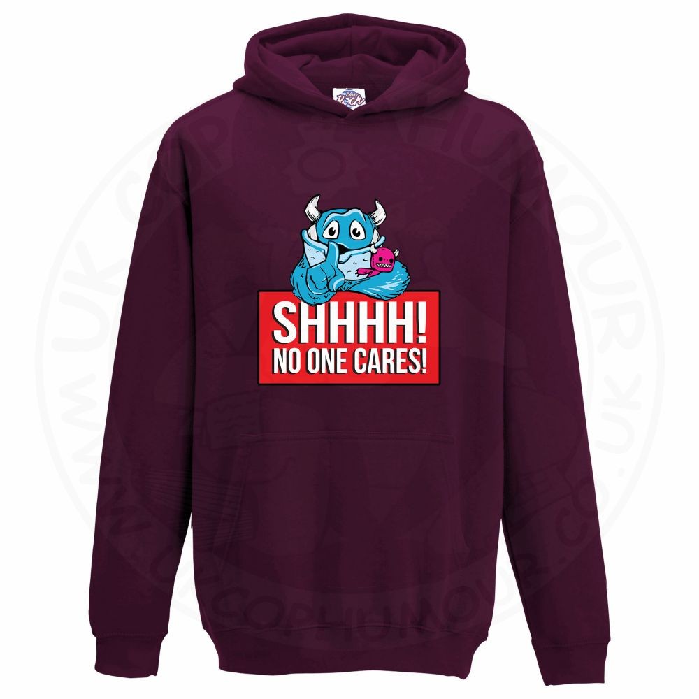 Kids SHHHH NO ONE CARES Hoodie - Maroon, 12-13 Years